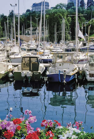 leman: boats harbour evians les bains lac leman alps france