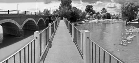infra red: bridge over river avon stratford upon avon warwickshire midlands england uk infra red black and white image