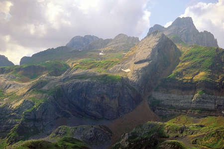 rock strata: pyrenees france spain border view from col de somport pass between spain and france