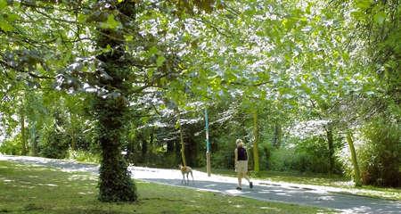 en mont�e: femme marchant en mont�e chiens
