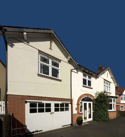 letting: detached house exterior view Stock Photo