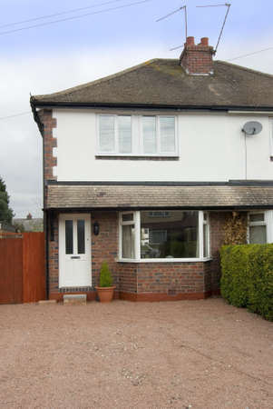 semi detached house exterior view Stock Photo