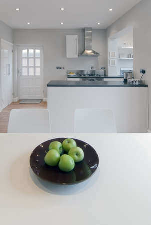 rebuilt: colour image kitchen in newly restored rebuilt house work surfaces