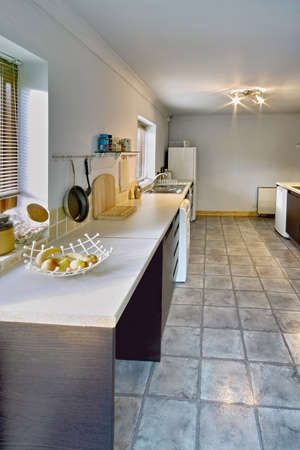 show garden: colour image kitchen in newly restored rebuilt house work surfaces