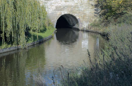 worcester and birmingham canal: A tunnel on the Worcester and Birmingham canal at Tardebigge canal village, Worcestershire Midlands England