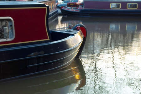 worcester and birmingham canal: A narrow boat or barge on the worcester and birmingham canal at stoke prior Worcestershire.