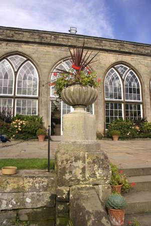 conservatories: Inside the grounds of Warwick castle, Warwickshire, Midlands, England, UK