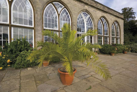 conservatories: Inside the grounds of Warwick castle, Warwickshire, Midlands, England, UK