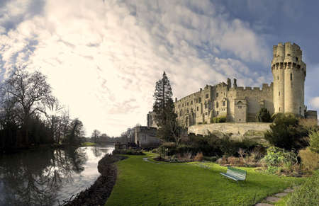 place of interest: A view of warwick castle and the River Avon, warwickshire midlands england uk.