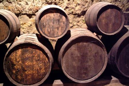 loire: Barrels of wine in a cellar in the loire valley france. Stock Photo
