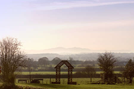 The view towards the malvern hills from the jinny ring centre hanbury worcestershire england uk photo