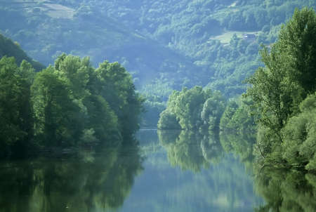french countryside: The river lot in the midi pyrenees france.