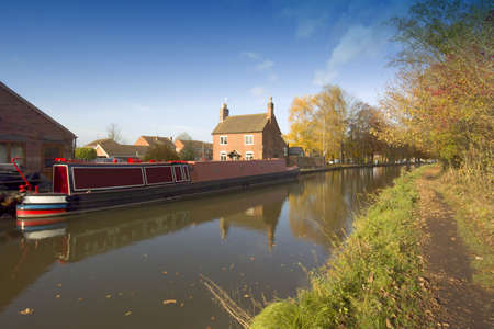A narrow boat or barge on the worcester and birmingham canal stoke prior worcestershire. Stock Photo - 2414662