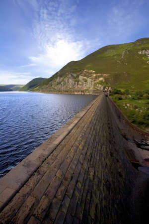 reservoirs: The elan valley cambrian mountains area of outstanding natural beauty powys wales the valley has dams and reservoirs which are used to provide the city of birmingham with a stable water supply.  Stock Photo