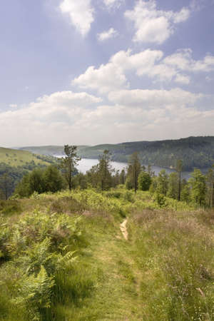 elan: The elan valley cambrian mountains area of outstanding natural beauty powys wales the valley has dams and reservoirs which are used to provide the city of birmingham with a stable water supply.  Stock Photo