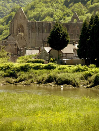 abbeys: Wales monmouthshire, a view across the valley of the river wye to  TINTERN ABBEY.