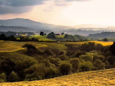 pyrenees: The pays basque countryside pyrenees atlantique aquitaine, France. Stock Photo