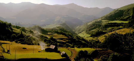 rock strata: The pyrenees on the france spain border view from pass between spain and france Stock Photo