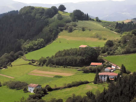 aquitaine: The pays basque countryside pyrenees atlantique aquitaine, France. Stock Photo