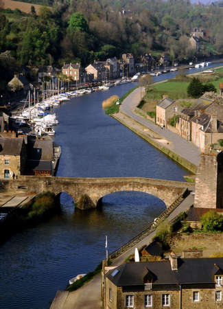 dinan: The view over the estuary of the river rance the town of dinan cotes darmor brittany france europe