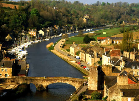 rance: The view over the estuary of the river rance the town of dinan cotes darmor brittany france europe