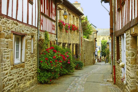 residential property: Traditional french houses and streets in the town of treguier.