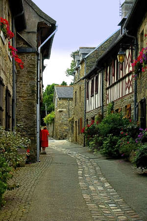 timbering: Traditional french houses and streets in the town of treguier.