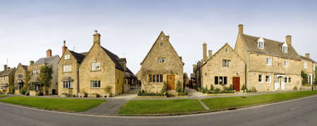 worcestershire: Town houses on the high street broadway cotswolds worcestershire uk.