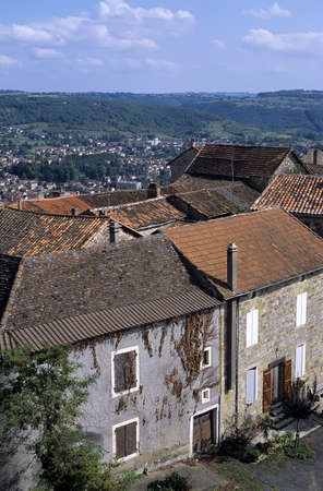 hilltop: Medieval hilltop village in the mid-pyrenees. Stock Photo