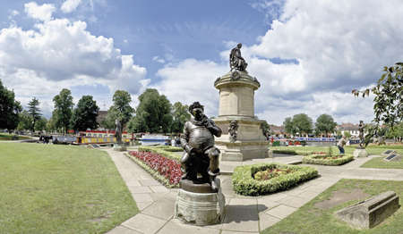 william: The stratford on avon canal bancroft basin statues falstaff in foreground william shakespeare behind.