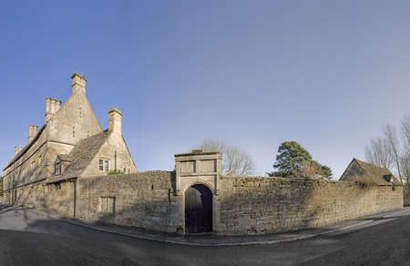 Old cottage and lane chipping campden cotswolds. photo