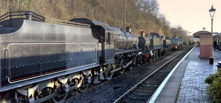 diesel locomotives: A row of steam and diesel locomotives at bewdley station on the severn valley line.
