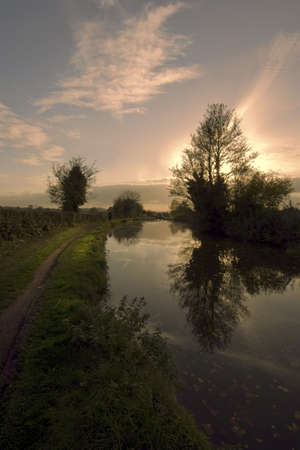 Sunset over the worcester and birmingham canal stoke prior worcestershire photo