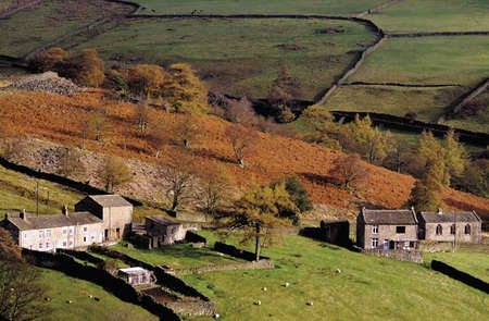 dales: yorkshire dales national park a view of arkengarthdale farmhouse. Stock Photo