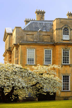 worcestershire: Trees in blossom at overbury court worcestershire. Stock Photo