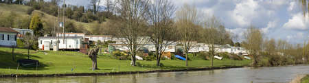 worcestershire: Caravan site next to the river avon evesham worcestershire midlands england uk Stock Photo