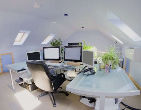 desk tidy: A home office in a converted loft