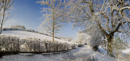 deep freeze: A snow covered rural landscape in the countryside Stock Photo