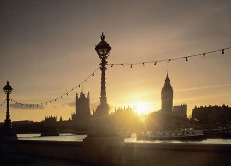 sunset river thames london england uk europe houses of parliament big ben view from the embankment photo