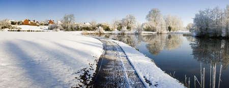 redditch: A snow covered rural landscape in the countryside Stock Photo