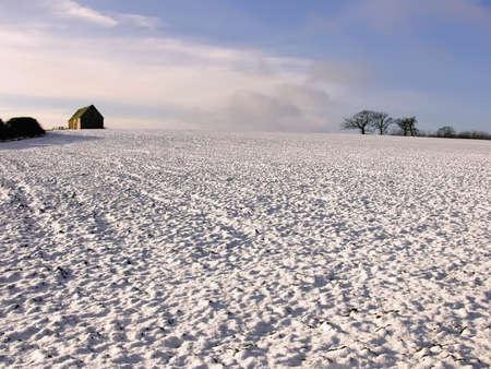 warwickshire: warwickshire farmland covered in snow winter Stock Photo