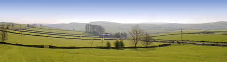 peak district landscape with fields and dry stone walls Stock Photo - 3109125