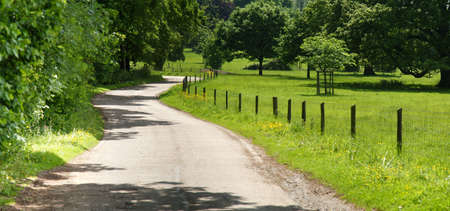 warwickshire: country lane the baddesley clinton estate warwickshire midlands england uk