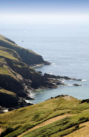 great bay: the cliffs at bolberry down on the south west devon coast coast path the south hams devon england uk