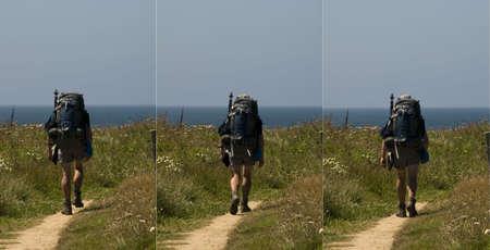 south west coast path:  walker et� centrale sul sentiero a piedi Sud costa occidentale percorso devon Inghilterra Archivio Fotografico