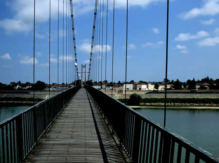 aquitaine: suspension bridge over the river garonne lot-et-garonne aquitaine agen france