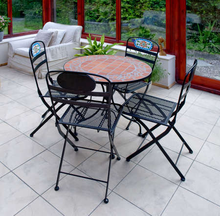 conservatories: conservatory with door to garden and plants