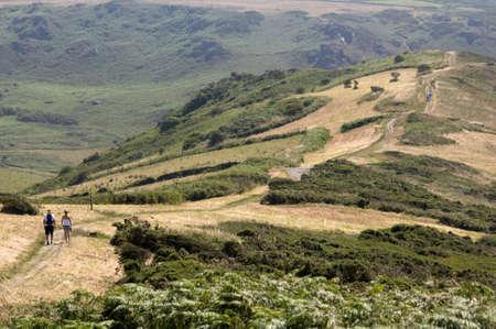 southwest: het pad op bolberry naar beneden op de zuid west kust van Devon Coast Path het zuiden hammen Devon Engeland Verenigd Koninkrijk