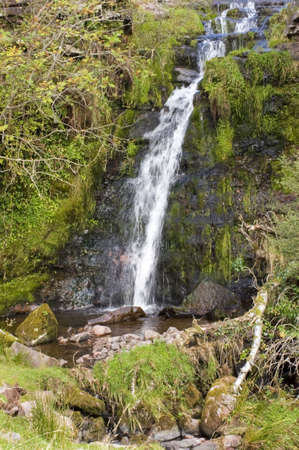 brecon beacons: waterfall the taf fechan forest brecon beacons national park powys wales uk