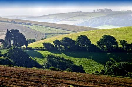 view over hills and landscape salcombe devon england uk